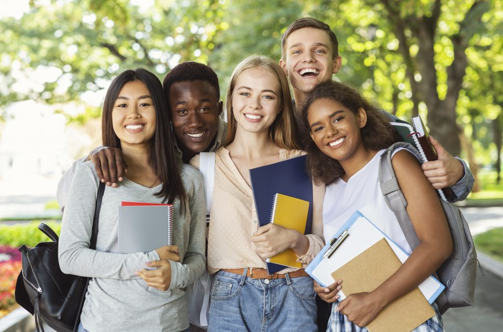 Group of students having fun after studying