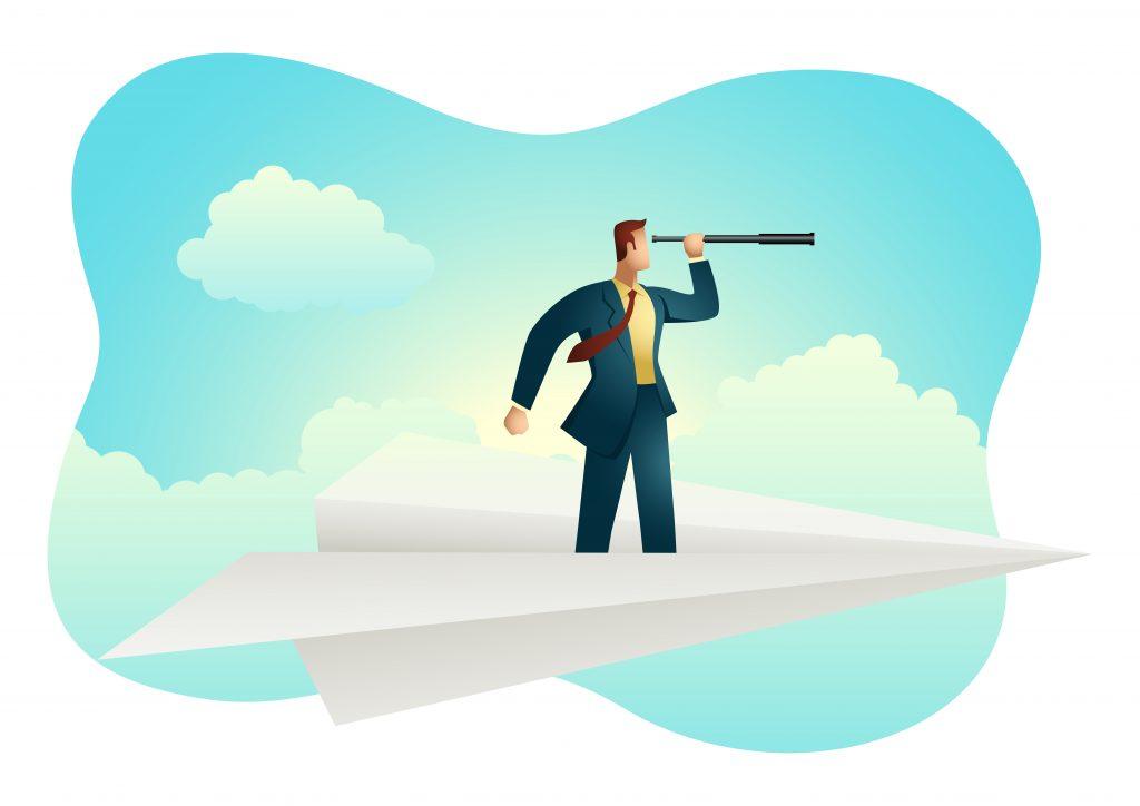 Illustration of Businessman using telescope on paper plane