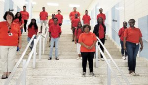 Wicomico County Public Schools' C.R.E.W. program (Career Research Education and Work) students photographed on the steps