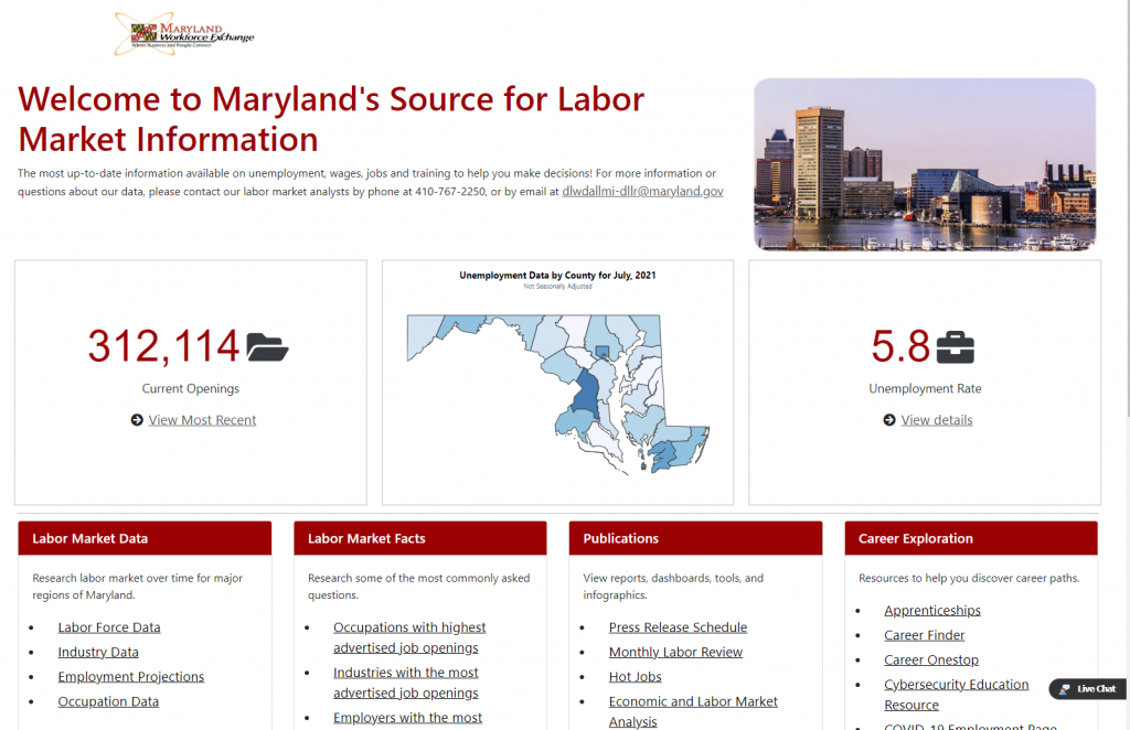 Maryland's Source for Labor Market Information Home Page Screen Shot