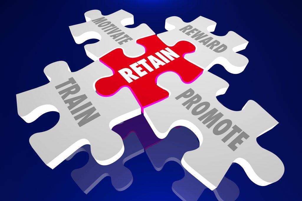 Retain Employees Train Motivate Reward Promote Puzzle Pieces 3d